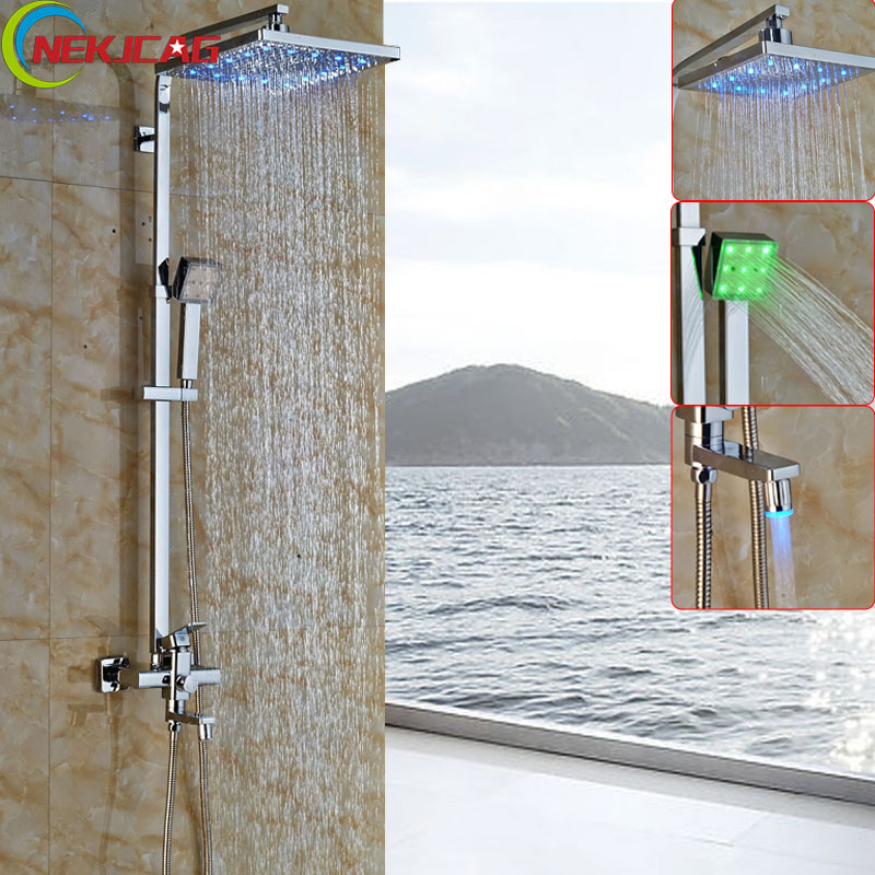 Polished Chrome 12 LED Color Changing Shower Mixer Faucet Bathroom Wall Mount Single Handle shower Panel + Handshower polished chrome wall mount temperature control shower faucet set brass thermostatic mixer valve with handshower
