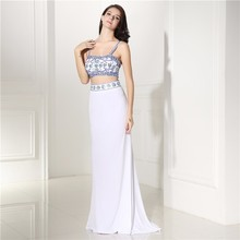Two Pieces Prom Dress Spaghetti Straps Backless Beaded