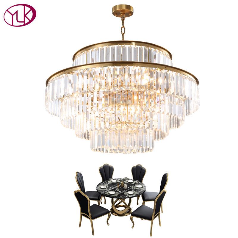 Youlaike Modern Crystal Chandelier For Living Room Luxury Gold Round LED Lustres De Cristal Dining Room Crystal Light Fixture modern led crystal pendant lamp dandelion chandelier light fixture for dining room bedroom lustres de cristal ac110v 240v