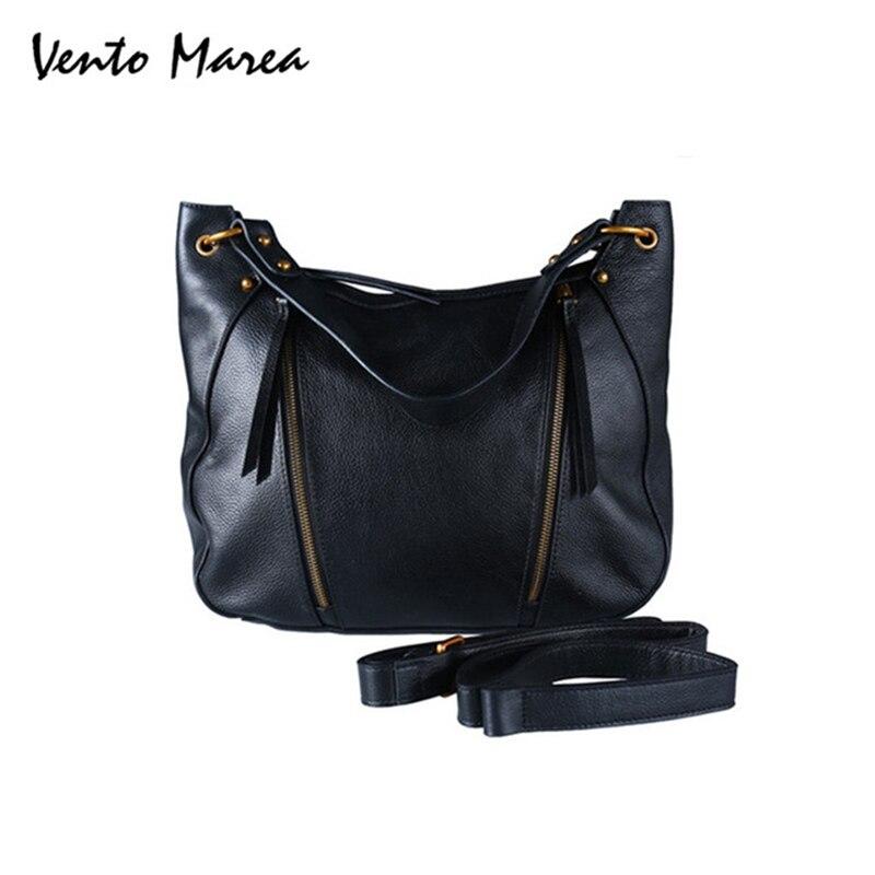 Original Vento Marea Woman Zipper Soft Black Color Hand Bag Genuine Leather Shoulder Handbags Large Capacity PursesOriginal Vento Marea Woman Zipper Soft Black Color Hand Bag Genuine Leather Shoulder Handbags Large Capacity Purses