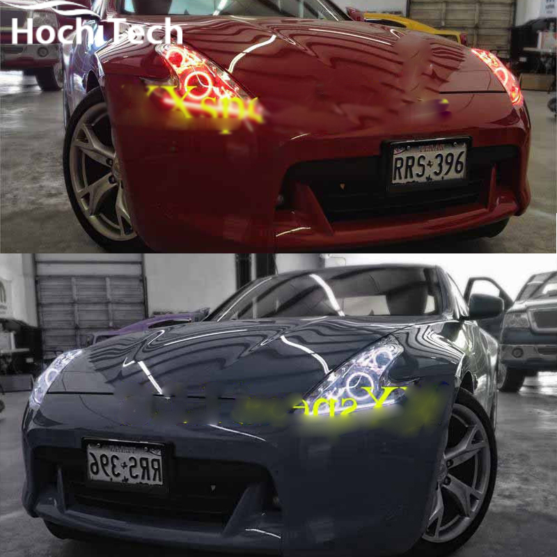 for Nissan 370Z RGB LED headlight halo angel eyes kit car styling accessories2009 2010 2011 2012 2013 2014 2015 for fiat linea 2007 208 2009 2010 2011 2012 2013 2014 2015 rgb led headlight rings halo angel demon eyes with remote controller