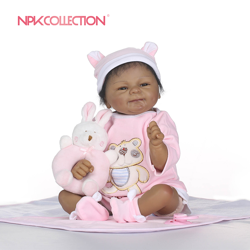 NPKCOLLECTION Popular Realistic Rooted Mohair Newborn Doll 45cm Soft Silicone Vinyl Lifelike Reborn Baby Dolls For Girls Gift ucanaan 20 50cm reborn doll hair rooted realistic baby born dolls soft silicone lifelike newborn toys for girls xmas kids gift