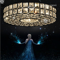 Modern Fashion Brief Style Crystal Lamp Chrome Ceiling Lights Hallway Light Fixtures Dia300x90mm Bedroom Lamp High
