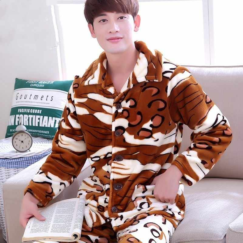 Winter Pajamas Men Long Sleeve Coral Fleece Warm Soft Flannel Pyjamas Mens  Lounge Checked Pajama Set 1c3a490c7