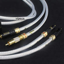 Pair 5NOCC Single Crystal Silver + WBT gold Rca plug 2RCA to 2RCA Audiophiles  Audio Cable for Home Theater DVD TV Amplifier CD