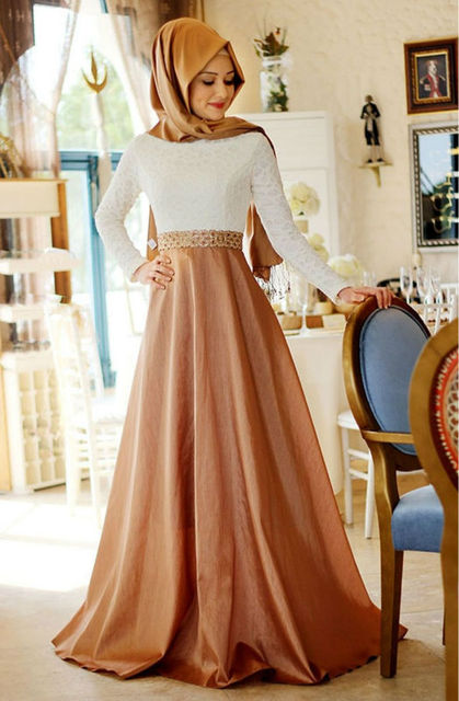 Prom Formal 2017 Muslim Hijab Lace Long Sleeve Evening Dress with Beaded  Belt Satin Skirt Court Train Glamour Entrance O b7eba10dd376