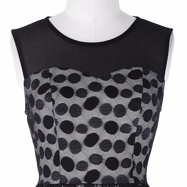 Dresses Retro Vintage Sleeveless Mesh Fabric Polka Dots Party Office Dress Casual Tunic 1950s Rockabilly Swing Summer Dress