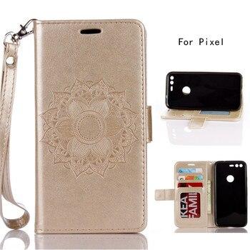 Gold Pu flower phone case for Google Pixel (5.0) flip wallet cover for Google Pixel back case with card horder