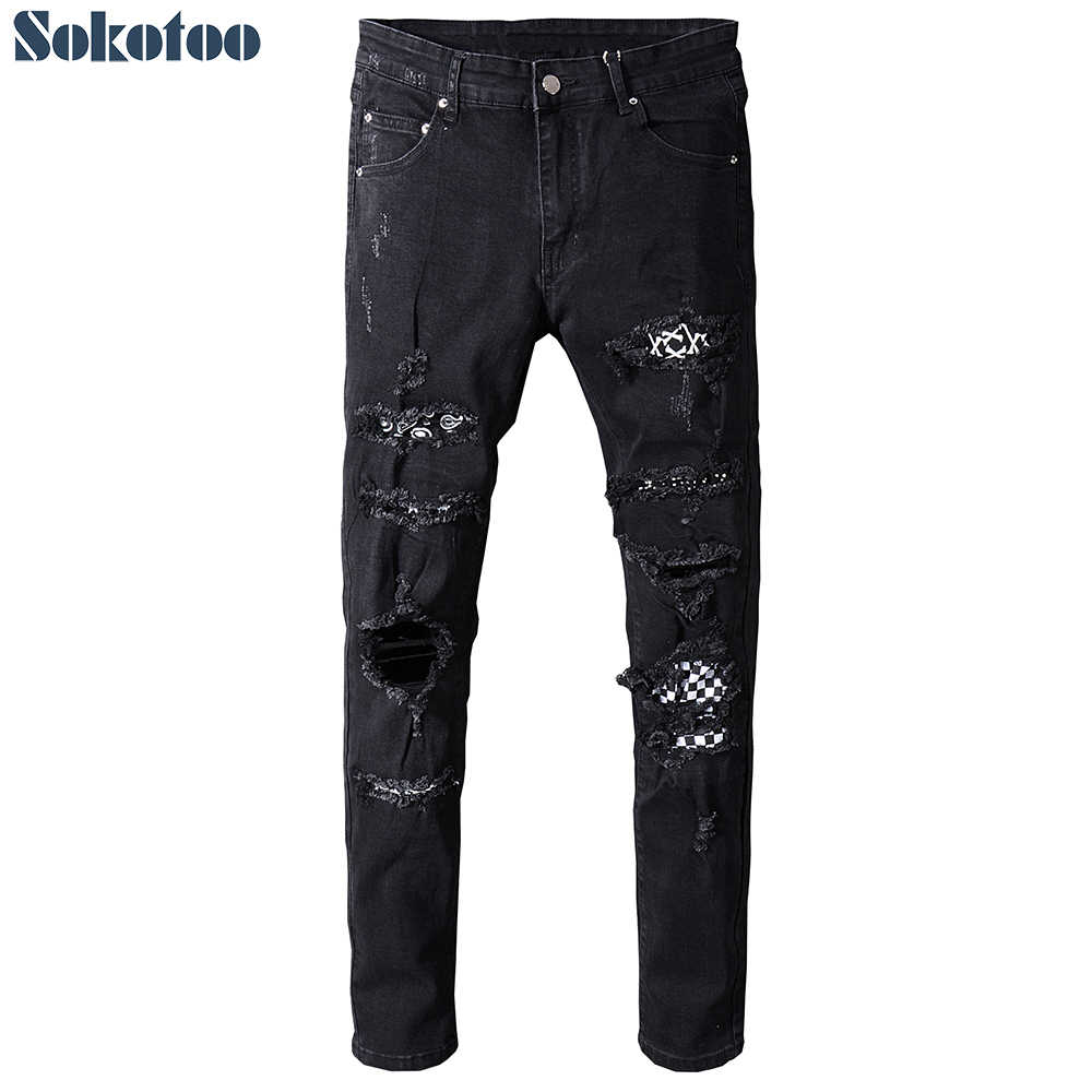 Sokotoo Men's black white patch holes ripped jeans Plus size slim fit skinny distressed stretch denim pants