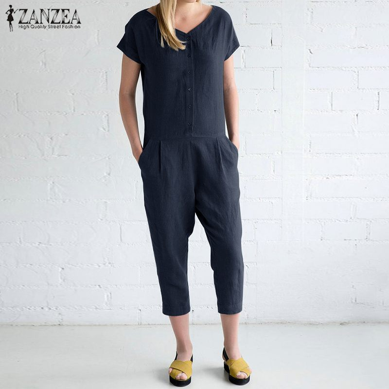 S 5XL ZANZEA Women Cotton Party Rompers 2019 Summer Solid Long Playsuit Casual Vintage Short Sleeve Work Jumpsuit Femme Overalls