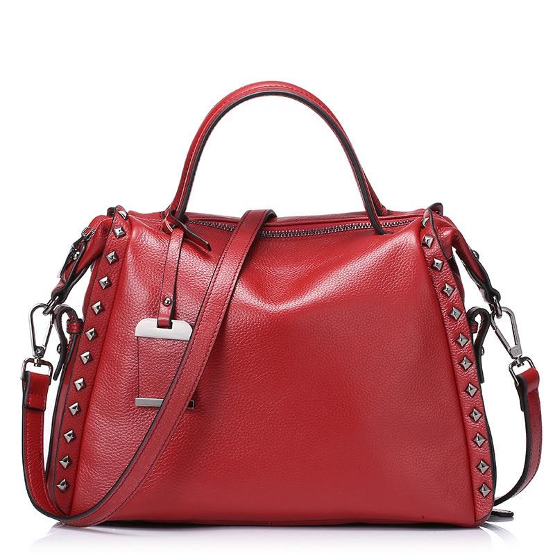 ФОТО UniCalling brand women bag fashion new style Boston bag female genuine leather casual handbag rivet cow leather women handbag