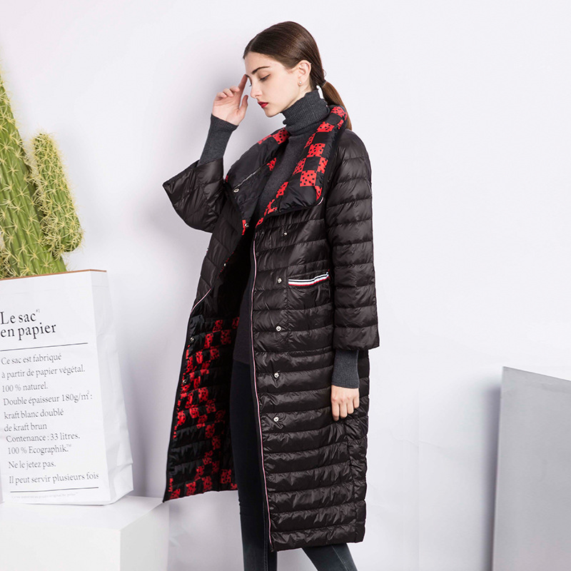 2018 Spring Autumn Double-sided Wear Down Jackets 3/4 Sleeve Casual Women Loose Down Coats Female Fashion Plaid Long Outerwears