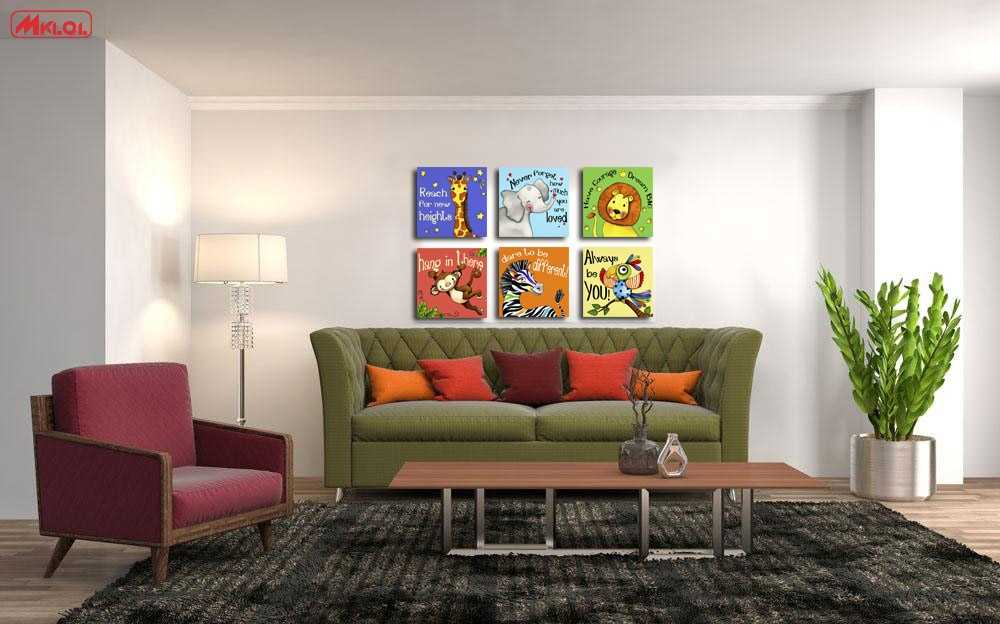 Wxkoil Art Canvas painting Oil Painting 6 PCS/Set Modern Cartoon Animals Wall Pictures Wall Deco Wall Stickers For Kids Rooms