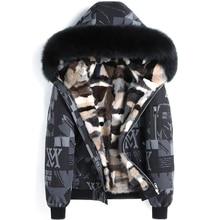 Норковая подкладка мужская зимняя куртка пальто Настоящая меховая Парка мужская зимняя куртка из натурального Лисьего меха с капюшоном пальто натуральная норка подкладка куртка мужская