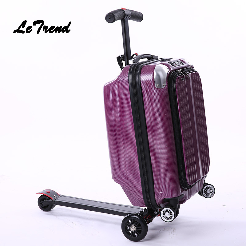 Letrend Skateboard Rolling Luggage Casters Men Business Trolley Suitcases Wheel Student Travel Duffle Multi-function School BagLetrend Skateboard Rolling Luggage Casters Men Business Trolley Suitcases Wheel Student Travel Duffle Multi-function School Bag
