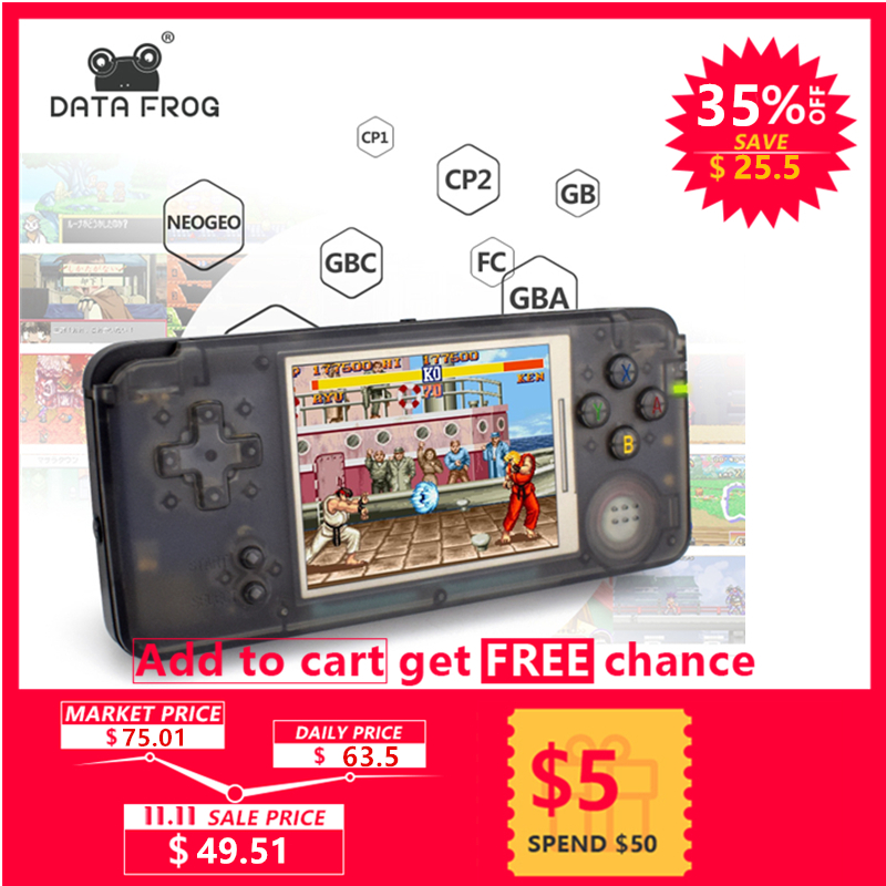 лучшая цена Data Frog Retro Handheld Game Console 3.0 Inch Console Built-in 3000 Classic Games Support For GBA/NEOGEO/CP1/CP2