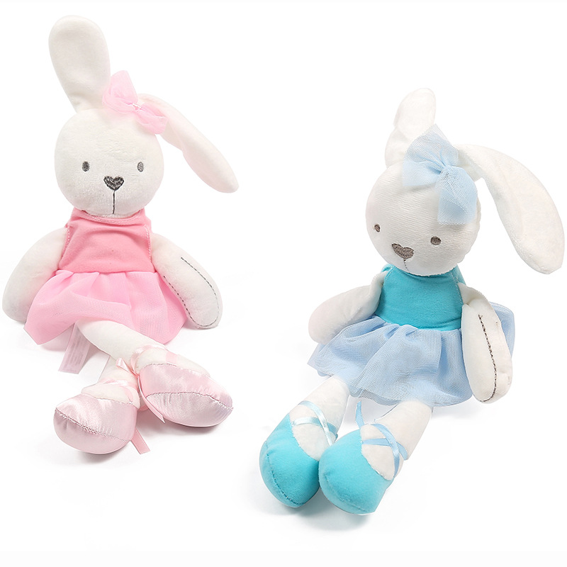 1pcs 42cm Cute Rabbit with Pink Dress Baby Plush Toy Soft Ballet Rabbit Doll Kids Comfort Doll Best Gift for Children 60cm new queen couple rabbit plush toy of peter rabbit doll wearing glasses rabbit doll valentine s day gift