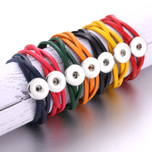 21CM Adjustable Snap Button Bracelet Bangle Leather Retro Handmade Braided fit 18MM Jewelry