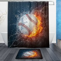 Baseball Ball With Water And Fire Waterproof Polyester Fabric Shower Curtain Set With Hooks Doormat Bath