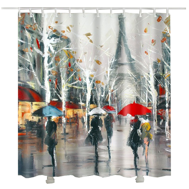 Impression Painting Paris Shower Curtain Trees Leaf Printed Raining Tower Umbrella Women Bathroom