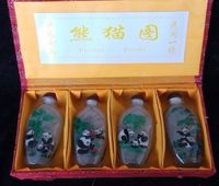 Chinese Hand Painted Glass Snuff Bottle Inner Panda Pattern Set 4