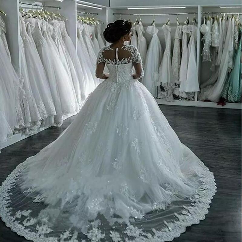 Vestidos De Noiva Lace Wedding Dresses 2016 Long Sleeve Boat Neck Button Appliques Ribbon Ball Gown Robe De Mariage Bridal Dress 4