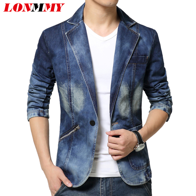 LONMMY Denim blazer men slim fit Cowboy coats Single breasted ...