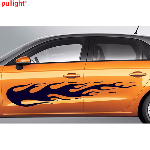 Large flames car body vinyl sticker decals 2 pieces left and right