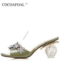 COCOAFOAL Women's Transparent Crystal Slides White Green Flower Slippers Summer Genuine Leather High Heels Sandbeach Slides 42