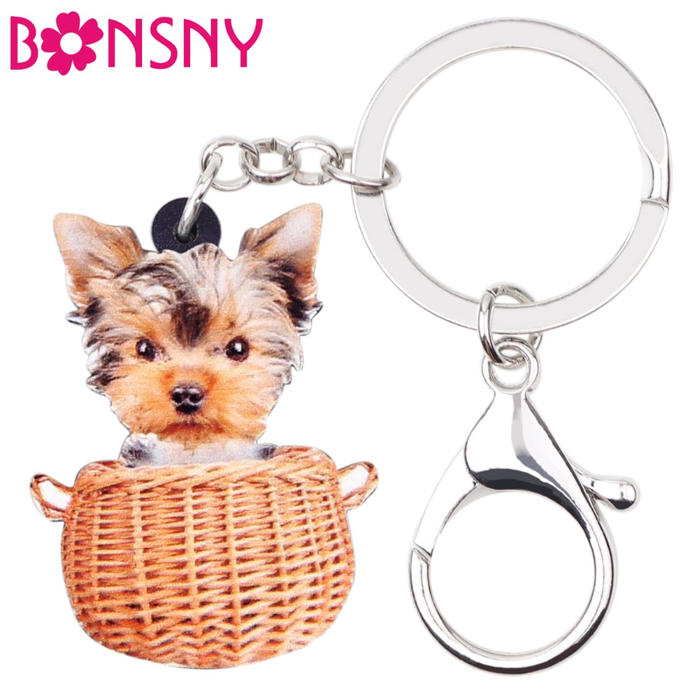Bonsny Acrylic Basket Yorkshire Dog Key Chains Keychains Rings Cute Animal Jewelry For Women Girls Bag Car Pendant Charms Gift