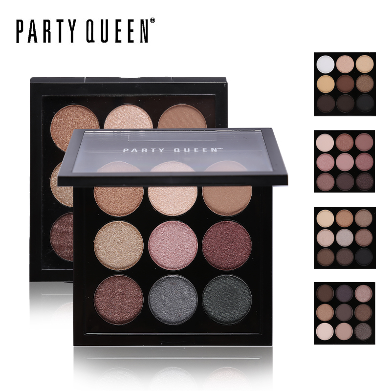 Party Queen 9 Earth Matte Färg Naken Ögonskugga Palett Shimmer Pigment Glitter Eyeshadow Kit Makeup Färgglada Glatt Naken Utseende