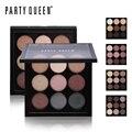 Party Queen 9 Tierra Mate Color Desnudo de Sombra de Ojos Kit de Maquillaje Brillo Paleta de Sombra de Ojos Del Pigmento Del Brillo Colorido Suave Nude Parece