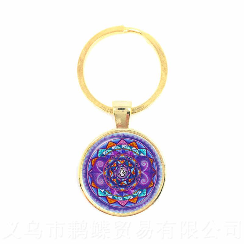 Corrente Chave Da Flor de Lotus Mandala Arte Da Foto Cabochon Vidro Pingente Chaveiro Geometria Sagrada Yoga Om Nova Moda Jóias