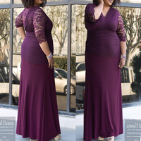 Robe De Soiree Purple Lace Chiffon Long Banquet Dress Half Sleeves Party Formal Dress Mother of Bridal Dress 2018 Plus Size