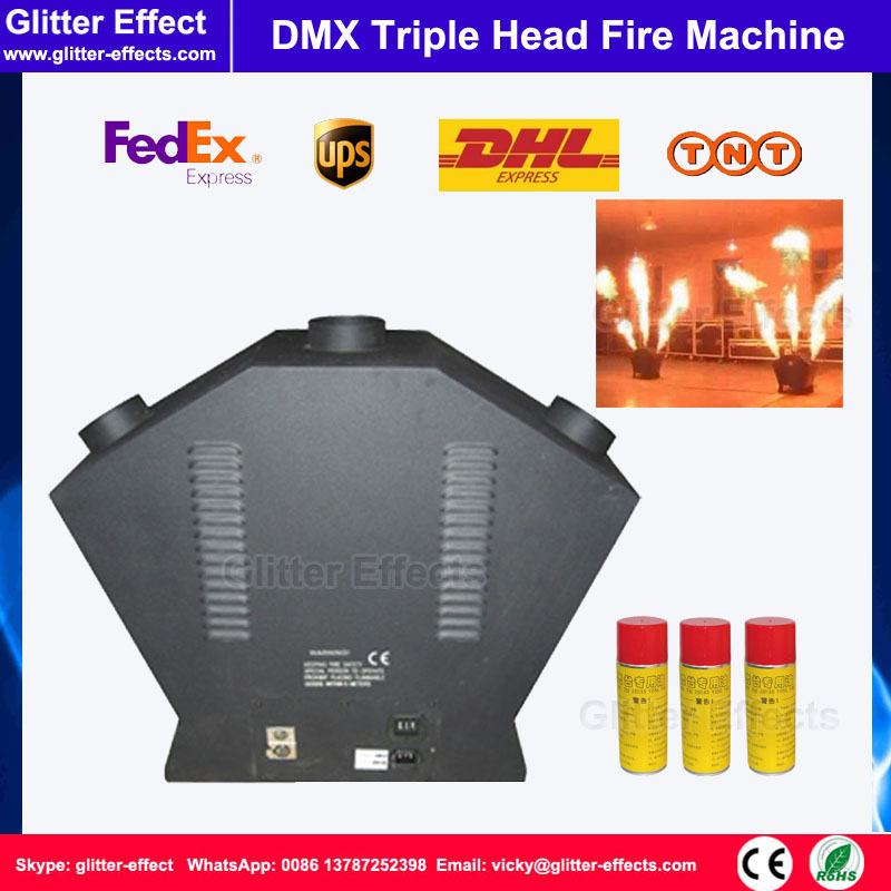 DMX 512 Triple flame projector Stage performance show Special Effect 3 spray head sculpt fire machine for disco club 2pcs lot fire machine flame machine 3m height special effect fire spray machine dmx 512 fire thrower