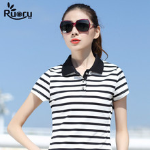 Ruoru M-6XL Plus Size Women Cotton Polo Slim Lapel Striped Polos Casual Business Shirt Summer Femme