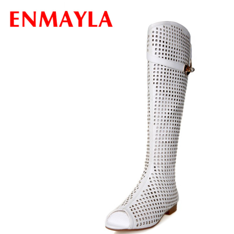 ENMAYLA Summer New Open Toe Women Fashion Cut-outs Peep Toe Boots Women Flats Buckle Boots Women Size Leather BootsENMAYLA Summer New Open Toe Women Fashion Cut-outs Peep Toe Boots Women Flats Buckle Boots Women Size Leather Boots