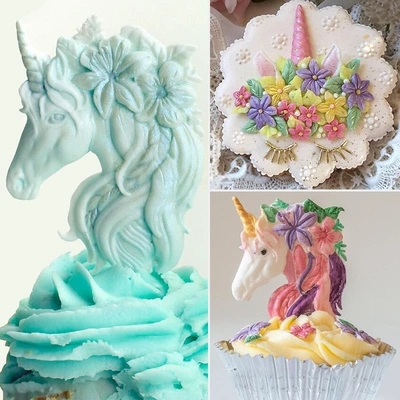 Unicorn Theme Cake Decoration Fondant Mold Silicone Mould Resin Clay Moulds Chocolate Birthday Ca In Extruders From Home