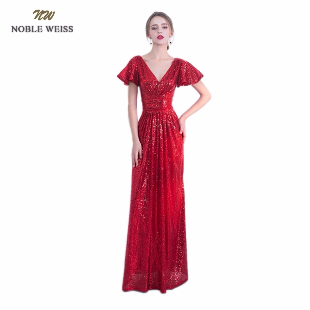 NOBLE WEISS Red   Prom     Dresses   2019 Sequin Custom Made V-Neck Mermaid Floor Length   Prom   Party   Dress   With Short Sleeves