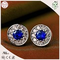 High Quality Popular And Fashion 925 Genuine Silver Circle Blue Stone Stud Earring