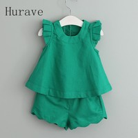Hurave 2017 New Casual Fashion Style Girls Sets Fly Sleeve Shirt Shorts For Kids Summer Children