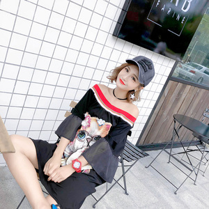 Image 2 - 2020 Summer casual slash neck dresses women sequined cartoon appliques flare sleeve chic dresses