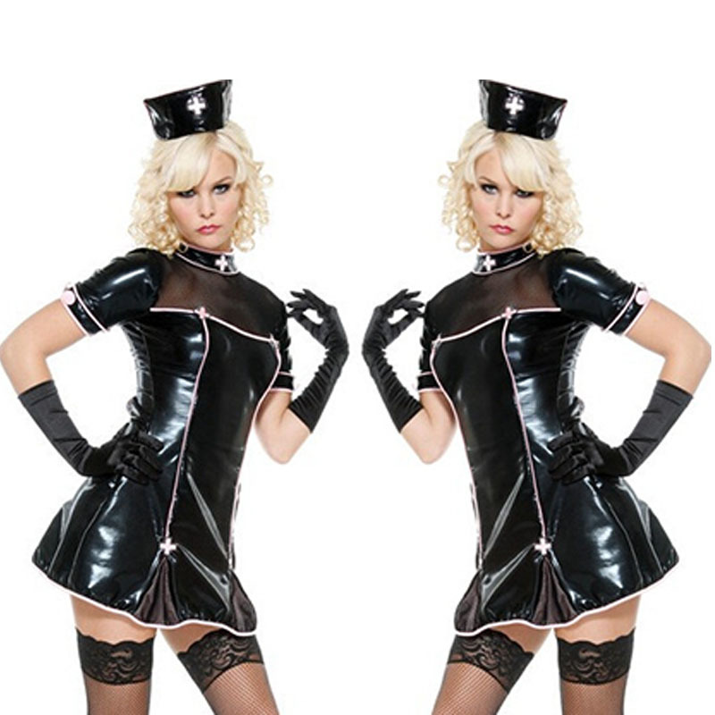 2015 Hot Black Sexy French Maid Uniform Halloween Nurse Costume Lingeire Short Sleeve Woman Dress Mini Bow Dress CC14