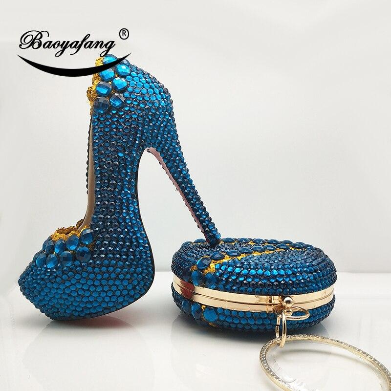 BaoYaFang Groen Oranje crystal Wedding schoenen met macthing tassen Dames hoge platform schoenen en tassen vrouw 14 cm Hoge Party schoenen-in Damespumps van Schoenen op  Groep 1