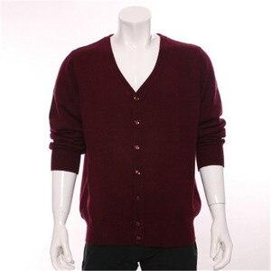 Мужской свитер из 100% козы, кашемировый, толстый, вязаный, с треугольным вырезом, однобортный, прямой, бордового цвета, 2 вида цветов