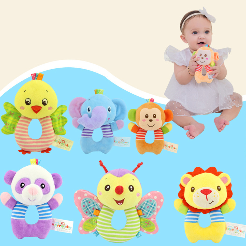 0-3 Y Baby Animal O Shape Play Rattle Plush Toy Visual Perception Shower Monkey Soft Clear Sound Early Education Gift Owl