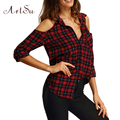 ArtSu Winter Plaid Shirt Blusas Blouse Summer Strapless Long Sleeved Cardigan Fashion Shirts Blouses Tees Tops ASBL20015