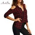 ArtSu Winter Plaid Shirt Blusas Blouse Summer Strapless Long Sleeved Cardigan Fashion Shirts Blouses Tees Tops ASBL20015