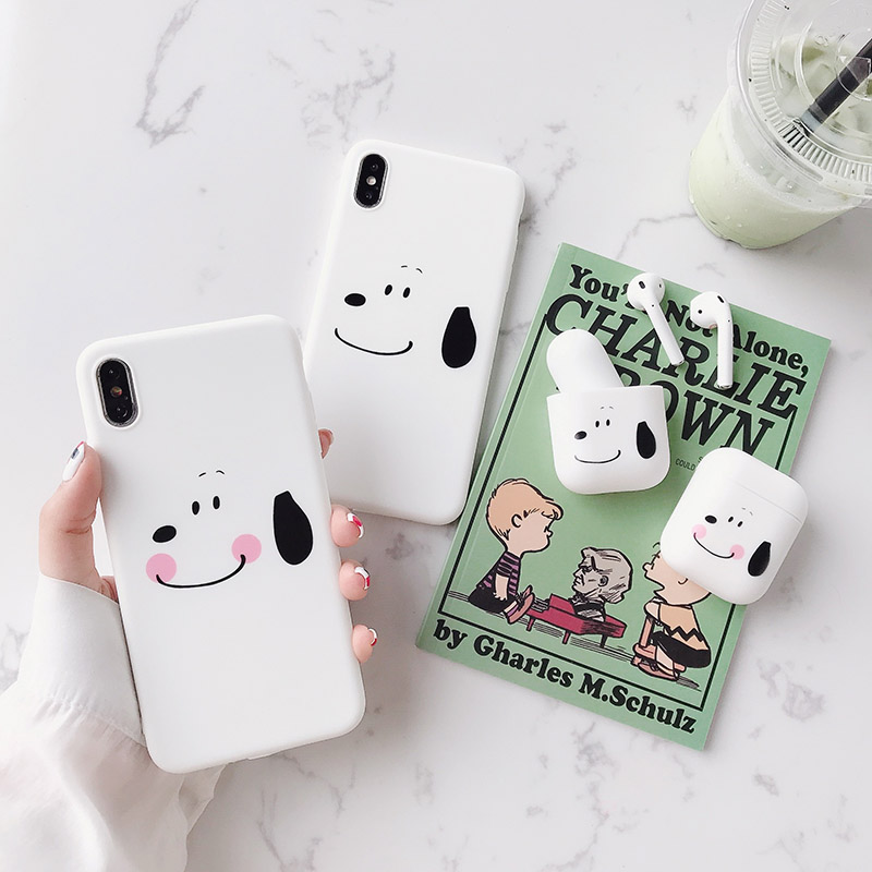 Cartoon Peanuts Dog Phone <font><b>Case</b></font> For <font><b>iphone</b></font> x xr xs max xs <font><b>6</b></font> 6s 7 8plus Cute <font><b>White</b></font> Dog cover For apple airpods backcover capa image
