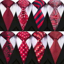2018 New Design 8.5cm 15 Style Red Tie Set Jacquard Woven Mens Neck Ties Gravata Hanky Cufflinks for Wedding Party